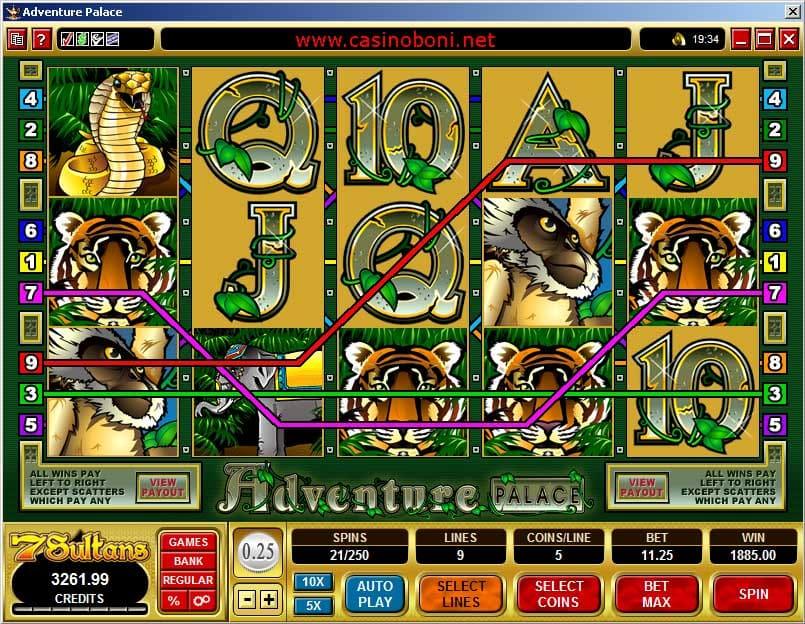 Adventure Palace Slotmaschine - Gewinn mit einer vollen Linie und 1x Wildsymbol im 7Sultans Online Casino von Microgaming