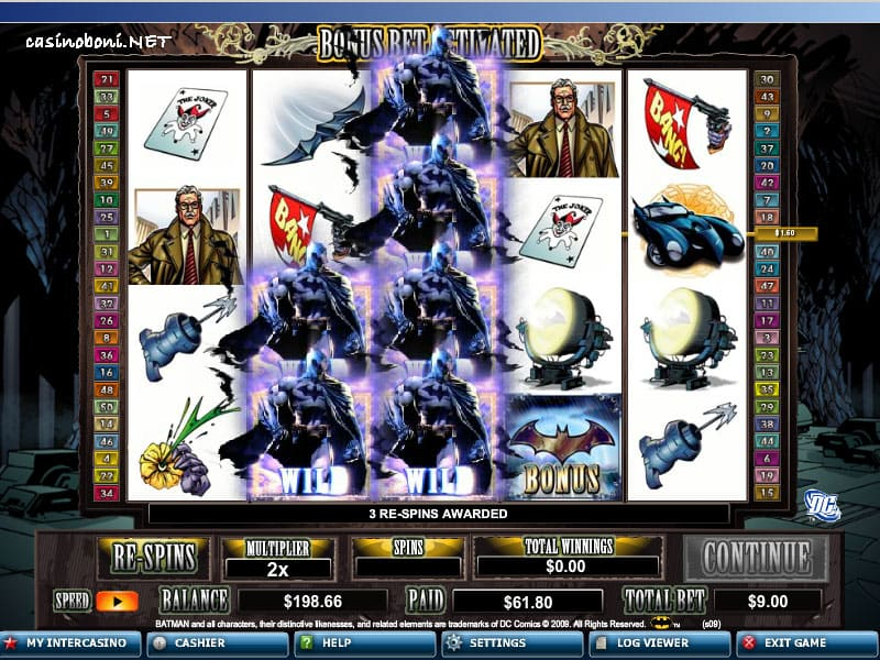 doppelte Wildreihe beim Online Casino Bonus Slot - Batman im Intercasino