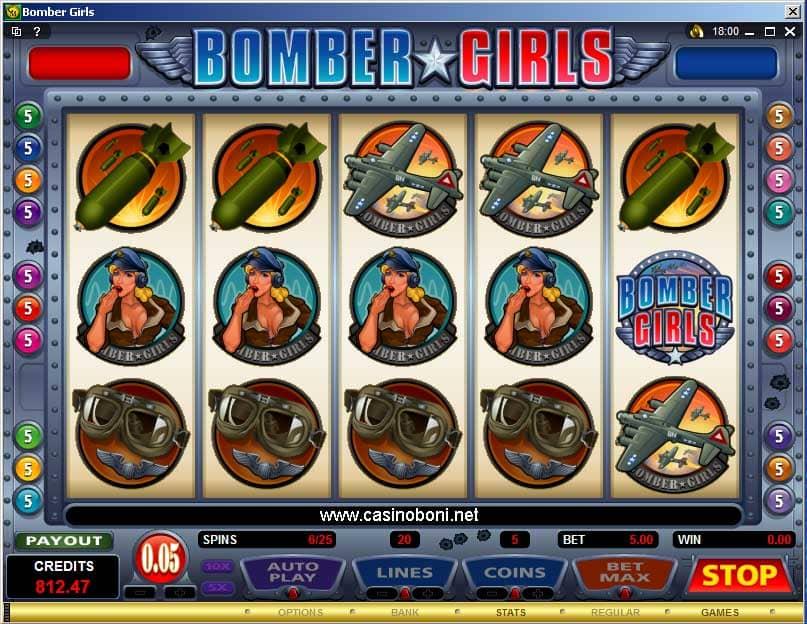 Bomber Girls Videoslot im Online Casino - Bonus Spiele und Freirunden