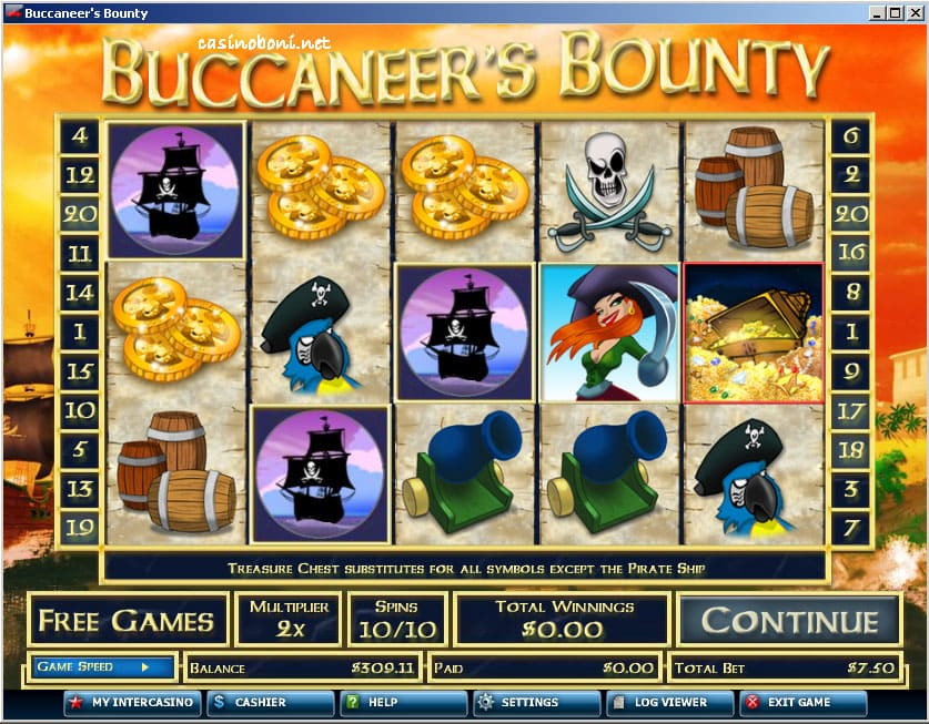 Online Slot 'Buccaneers Bounty' - 3 Piratenschiffe für 10 Free Spins