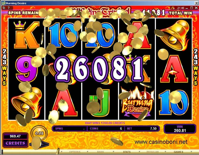 Der attraktive Casino Slot 'Burning Desire' bietet 243 Winning Way´s - Raining Coins