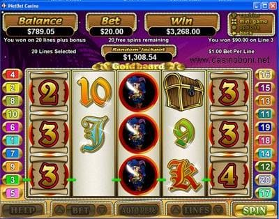 Goldbeard Slotmachine - in RTG Online Casinos