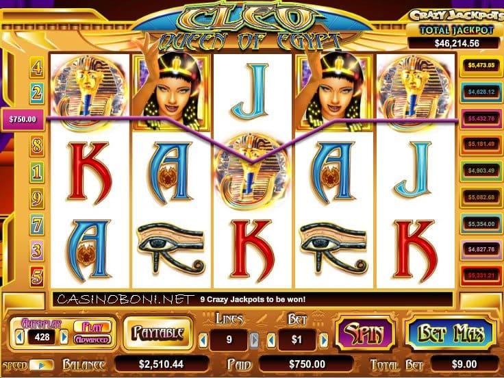9 Linien Cryptologic Online Casino StartgeldSlot - Cleo Queen Of Egypt - mit Crazy Jackpot Gewinnchance in vielen guten online casinos spielen
