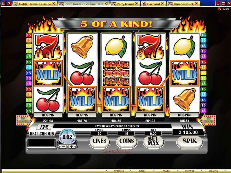 Casino Gewinn von 3105 USD mit 5 mal Wild durch die innovativen Re-Spin Funktion im Retro Reels Extreme Heat Casino Video-Slot-Automat