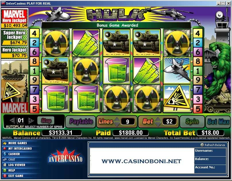 1800$ Online Casino Gewinn mit 18$ Spieleinsatz an der Marvel Hero Video Slotmachine Hulk - 5 Scatter