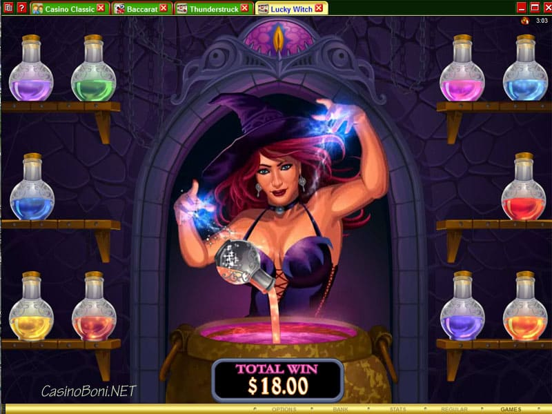 Die Qual der wahl hat der Spieler beim Magic Potion Bonus Feature des 'Lucky Witch' Online Casino Videoslots