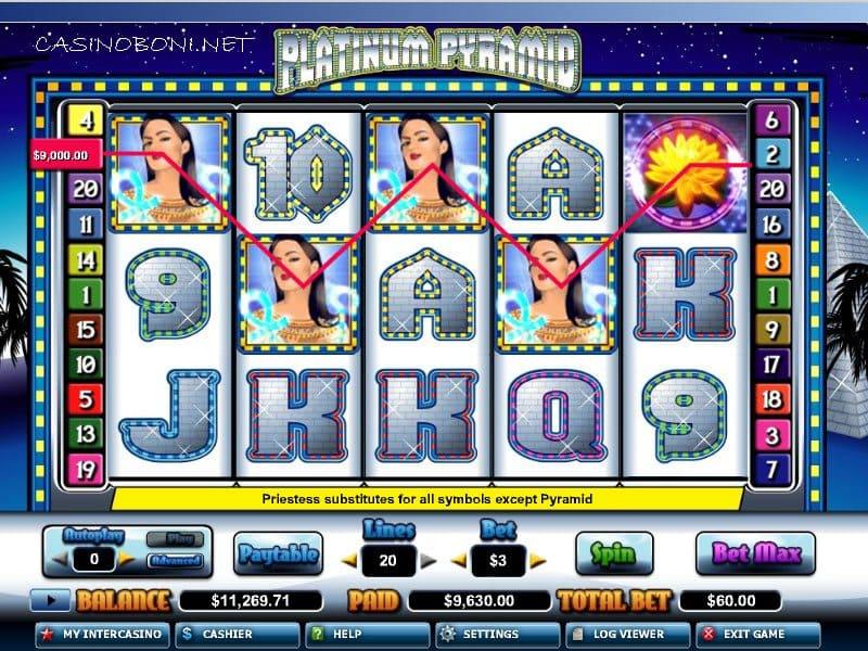4x Wild im Intercasino beim Online Casino Freispiel Bonus Slot Platinum Pyramid
