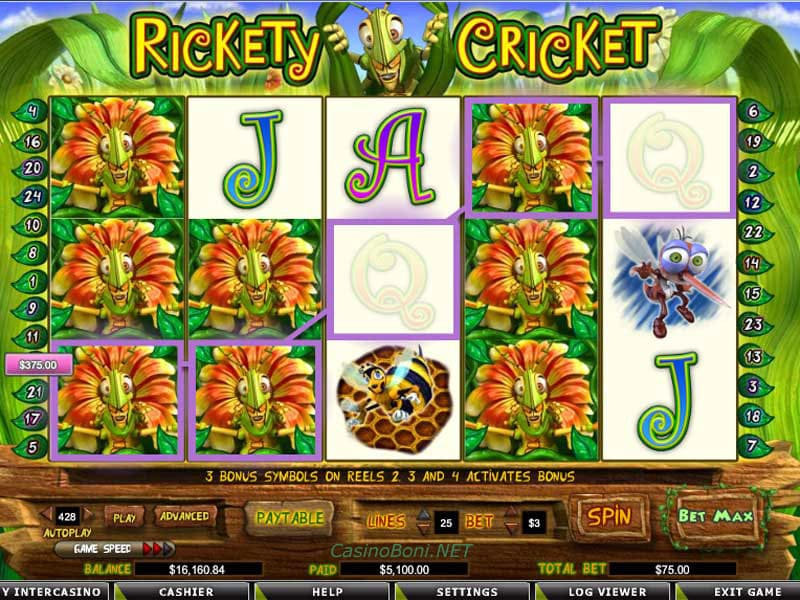 super Casinogewinn im Online Slotautomat Rickety Cricket durch Multiwildsymbole