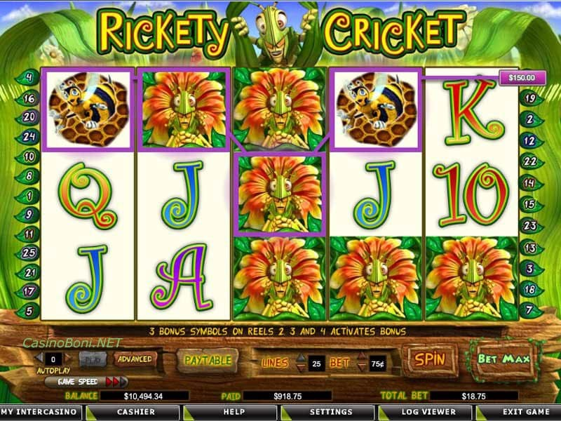 49 facher Casino Gewinn bei der 'Rickety Cricket' Online Casino Slotmaschine