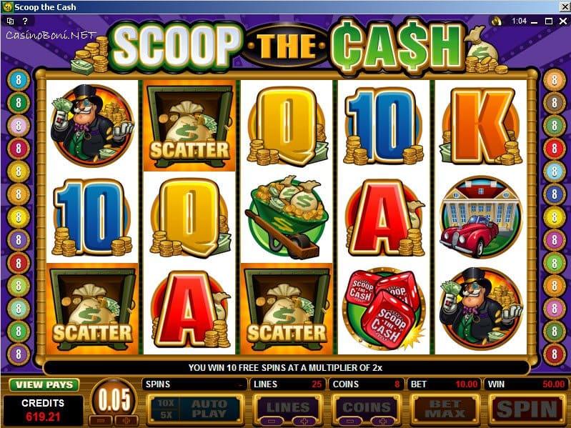 Online Casino Bonus Slot - Scoop The Cash - mit Echtgeld StartBonusfeature und Freispielen