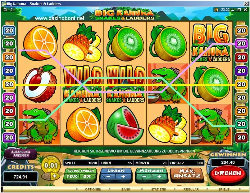 Online Casino Slotmachine - Big Kahuna Snakes and Ladders