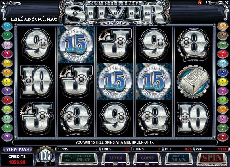 Sterling Silver Online Cazino Slot