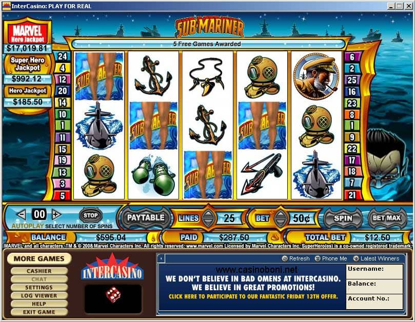 Submariner Marvel Hero Online Casino Slot - Bonusgame