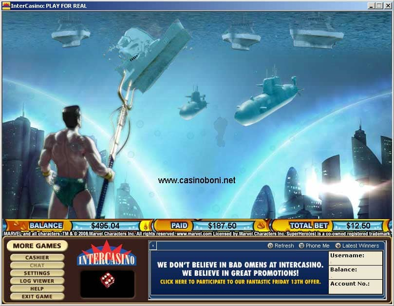 Submariner Marvel Hero Casino Slot - im Bonus Spiel