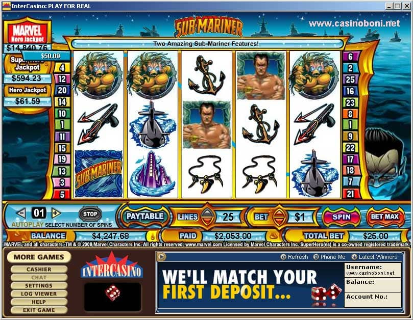 Submariner Marvel Hero Online Casino Slot - volle Gewinnlinie mit Wild Symbol