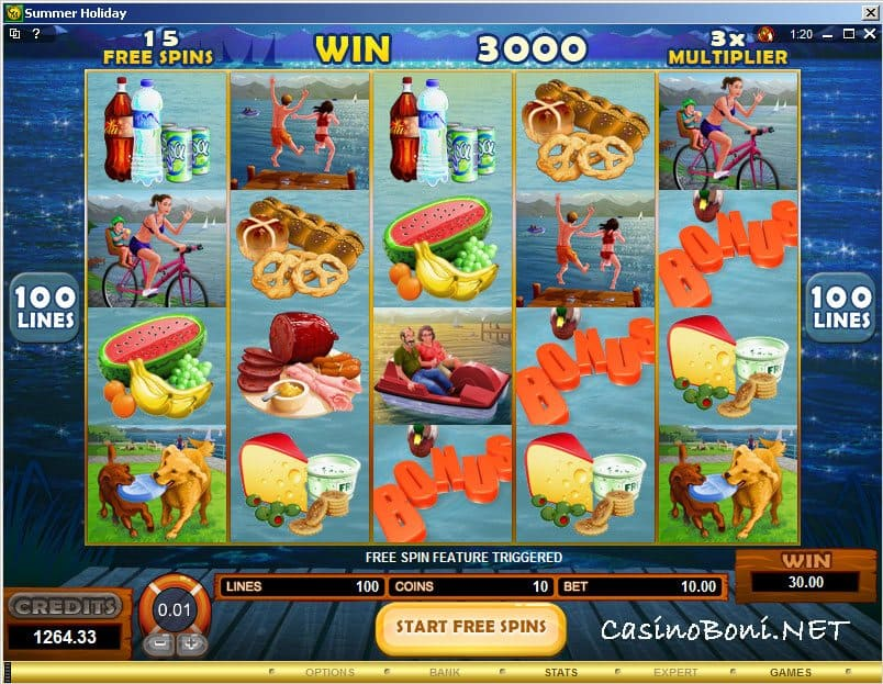 15 Freispiele durch 3 Scatter im Internet Bonus Slot - Summer Holiday