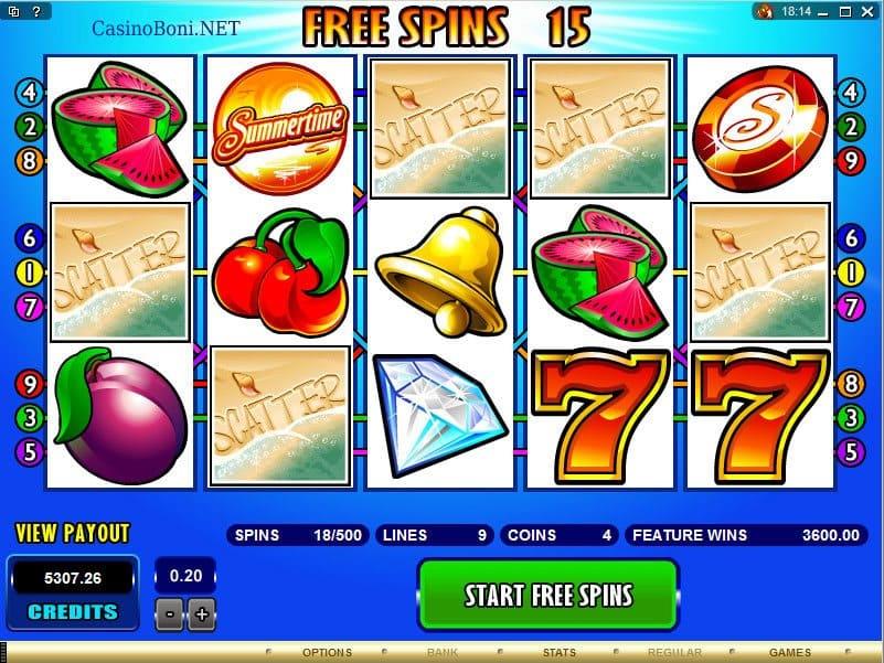 5 Scatter Gewinnkombination am Casino VideoSlot Summertime