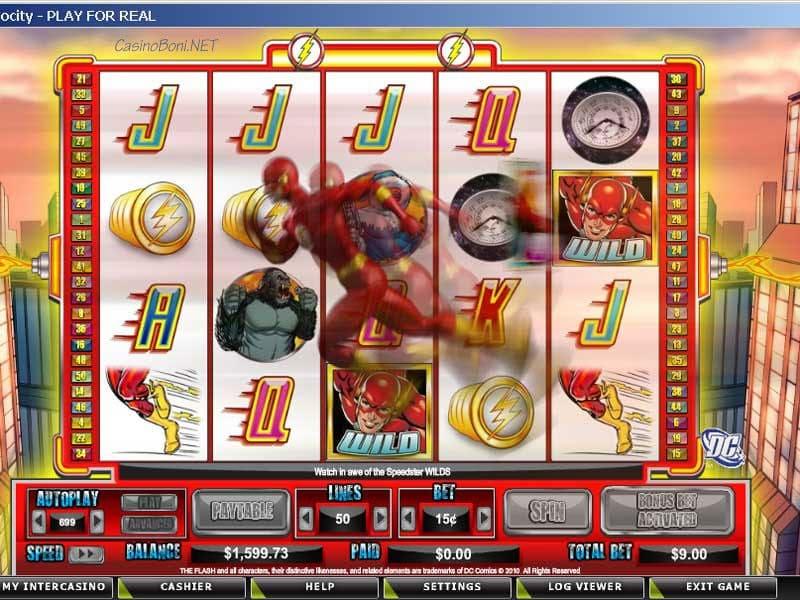 Durch diese 4 Bonussymbole erhält der Spieler, bei aktivierten Bonusbet, 12 Freispiele im Freespin Feature des Internet Kasino Slotautomaten - The Flash Velocity