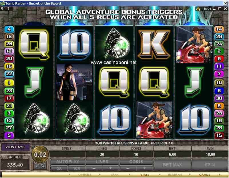Tomb Raider - Secret of the Sword - Slotmaschine im Online Casino - Freispiel Symbole