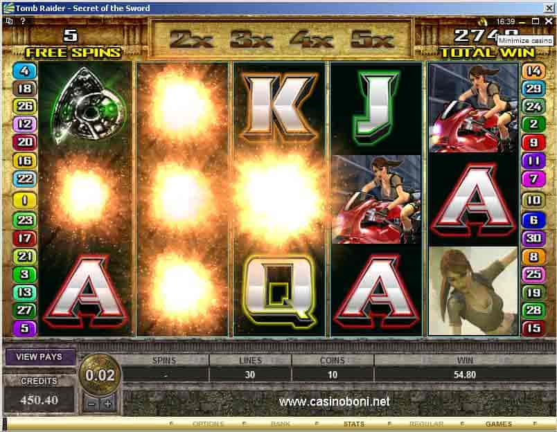 Tomb Raider - Secret of the Sword - Online Casino Slotmaschine im Freispiel Modus - Rolling Reels TM